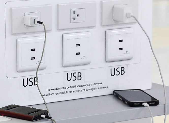 Airport USB charging stations